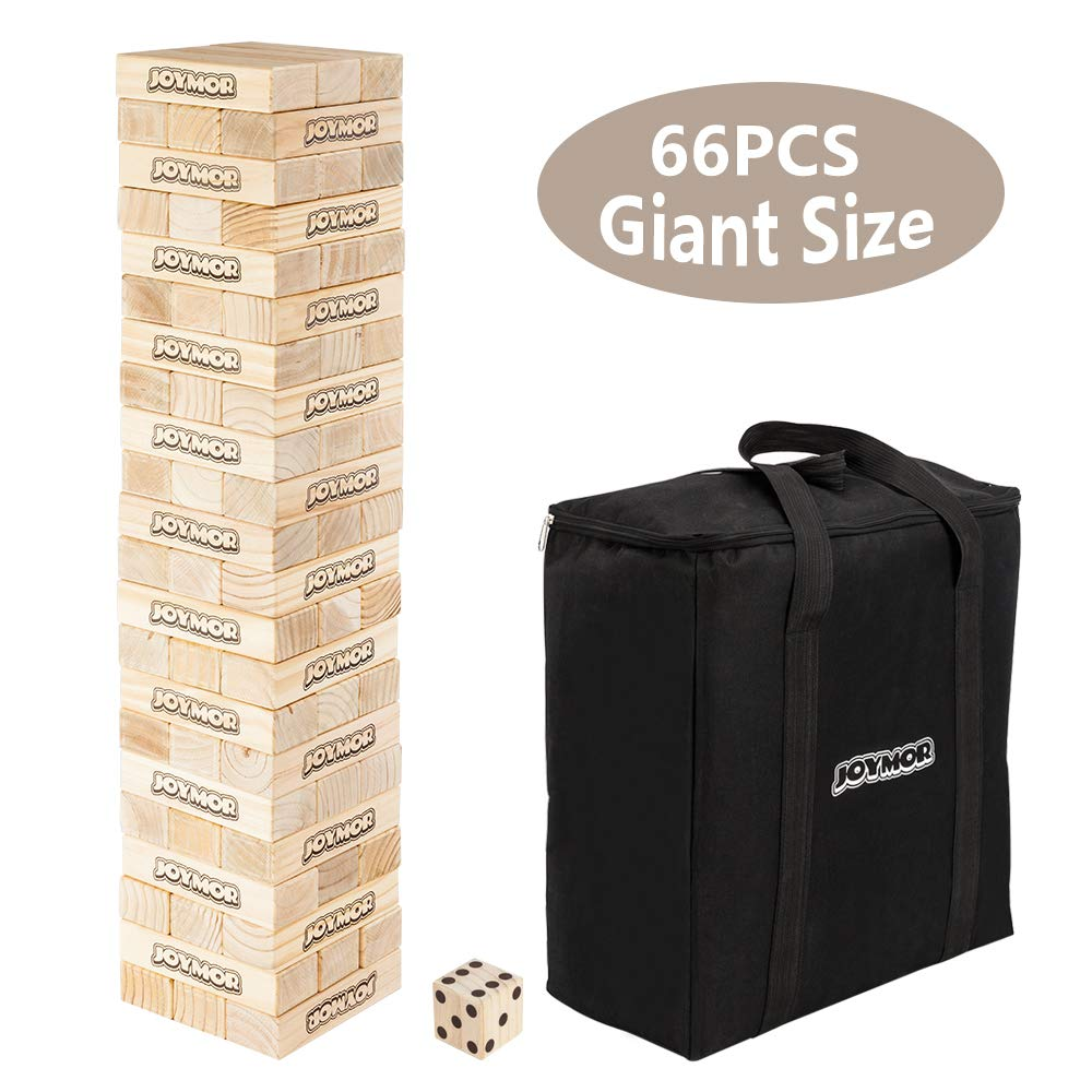 JOYMOR 66PCS 3.25 Feet Tall, Build to Over 6.5 feet Wooden Toppling Tower & Giant Tumbling Timbers Game with 1 Dice Set Canvas Bag for Adult, Kids, Family (Giant Size)