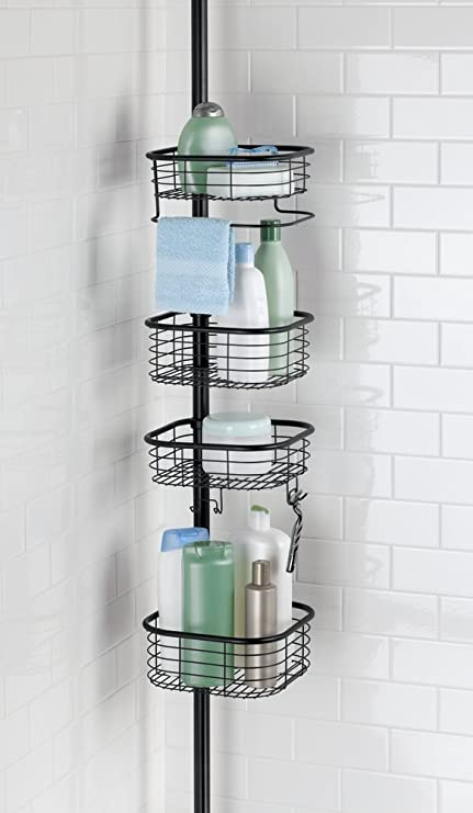 MDesign Bathroom Shower Storage Constant Tension Pole Caddy U2013 Adjustable  Height   4 Positionable Baskets