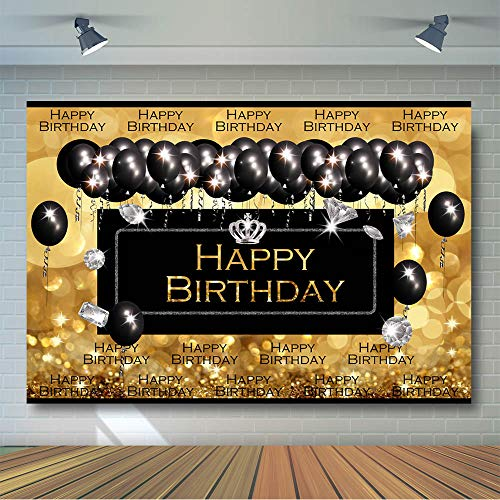 COMOPHOTO Black and Gold Glitter Golden Photography Backdrops Diamond Balloon Champagne Happy Birthday 16th 30th 50th 60th Fabulous Party Banner Adults Photo Background Decorations Props