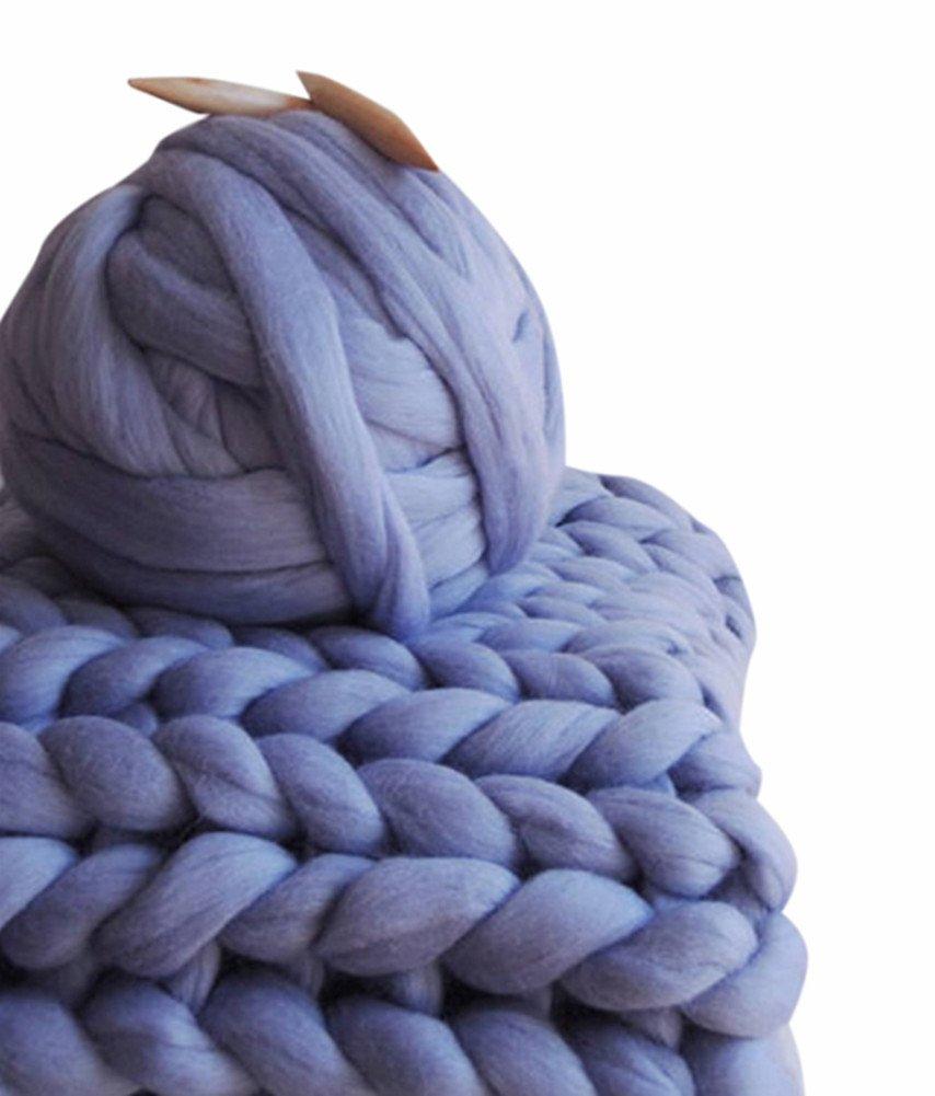 Giant Yarn Chunky Knit Yarn Wool Yarn Extreme Arm Knitting Colors 1 kg(2.2 lbs) Chunky Wool (Violet)