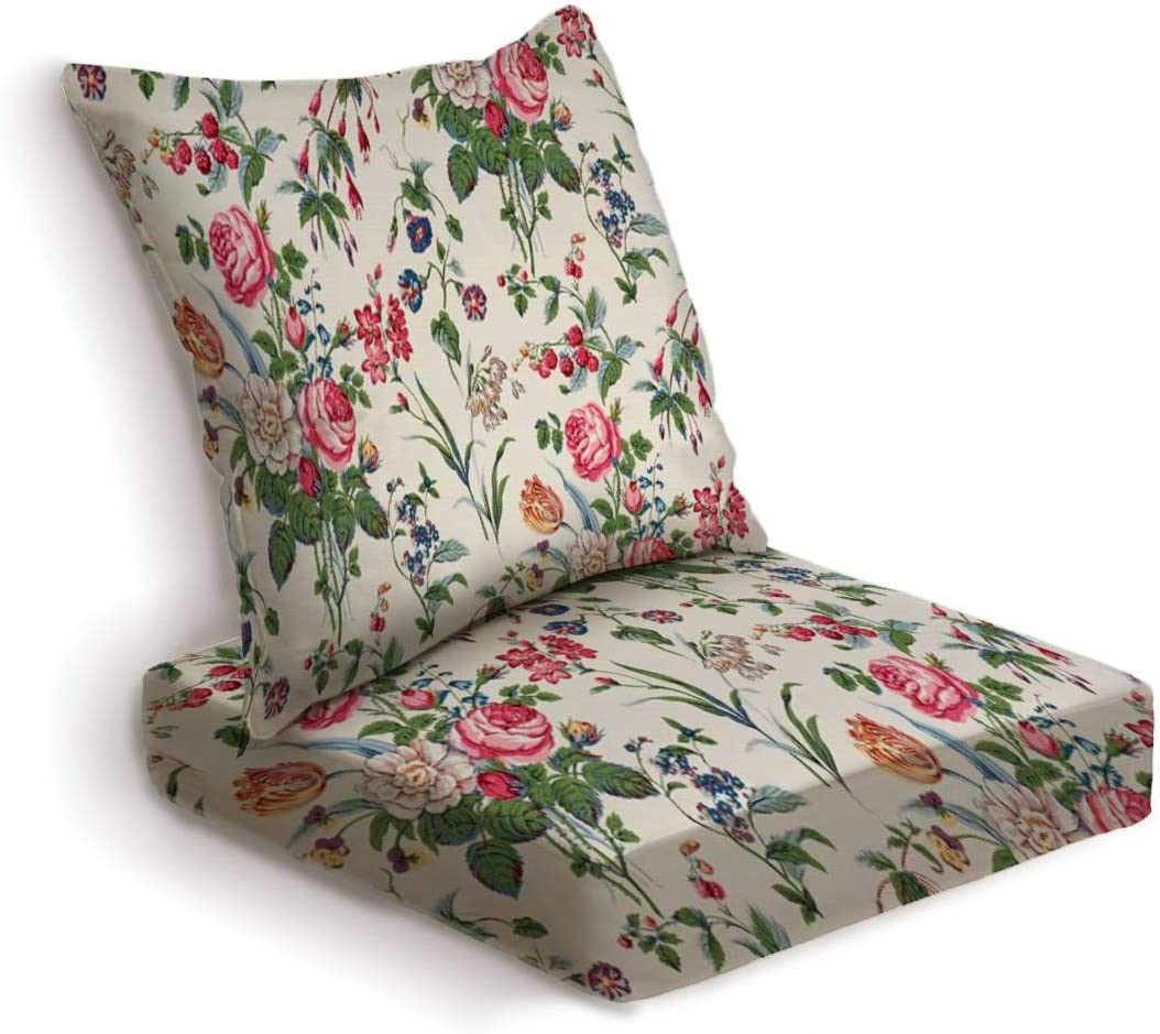 ONENPENRI 2-Piece Outdoor Deep Seat Cushion Set Garden Delight Medium Antique Floral Fabric Back Seat Lounge Chair Conversation Cushion for Patio Furniture Replacement Seating Cushion
