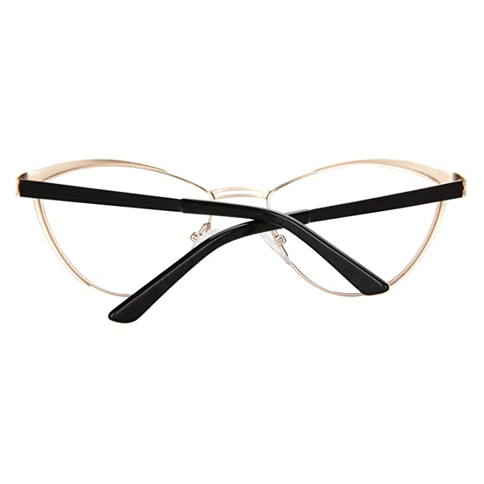 7bc48fc3f1fb5 Amazon.com  Zeelool Women s Metal Browline Cat Eye Glasses Frame with Clear  Lens Sydney FM0125-01 Black  Clothing