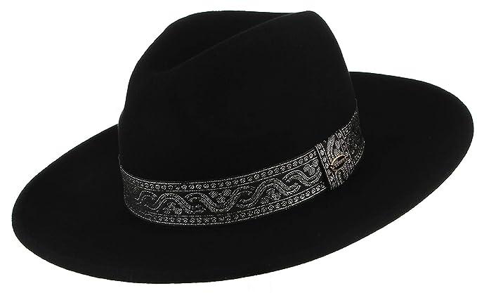 45655757eb2b3 GEMVIE Unisex Wool Fedora Hat Wide Brim Trilby Panama Hat with National  Strap Black