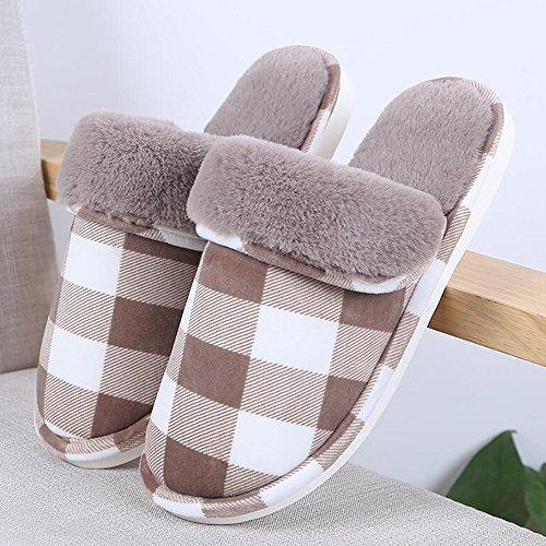 Eastlion Lattice Pattern Anti-skid Floor Indoor Thickening Winter Slippers Couple Home Warm Slippers Male Brown EXWZ7o0BI8
