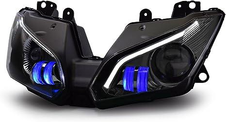 KT Full LED Headlight Assembly for Kawasaki Ninja 300 Ninja 250 2013-2018 V2 Blue LED DRL