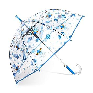 248b4e991 Amazon.com | ShedRain Auto Open Clear Space Print Clear Bubble Umbrella:  Gazer Stars and Planets | Umbrellas
