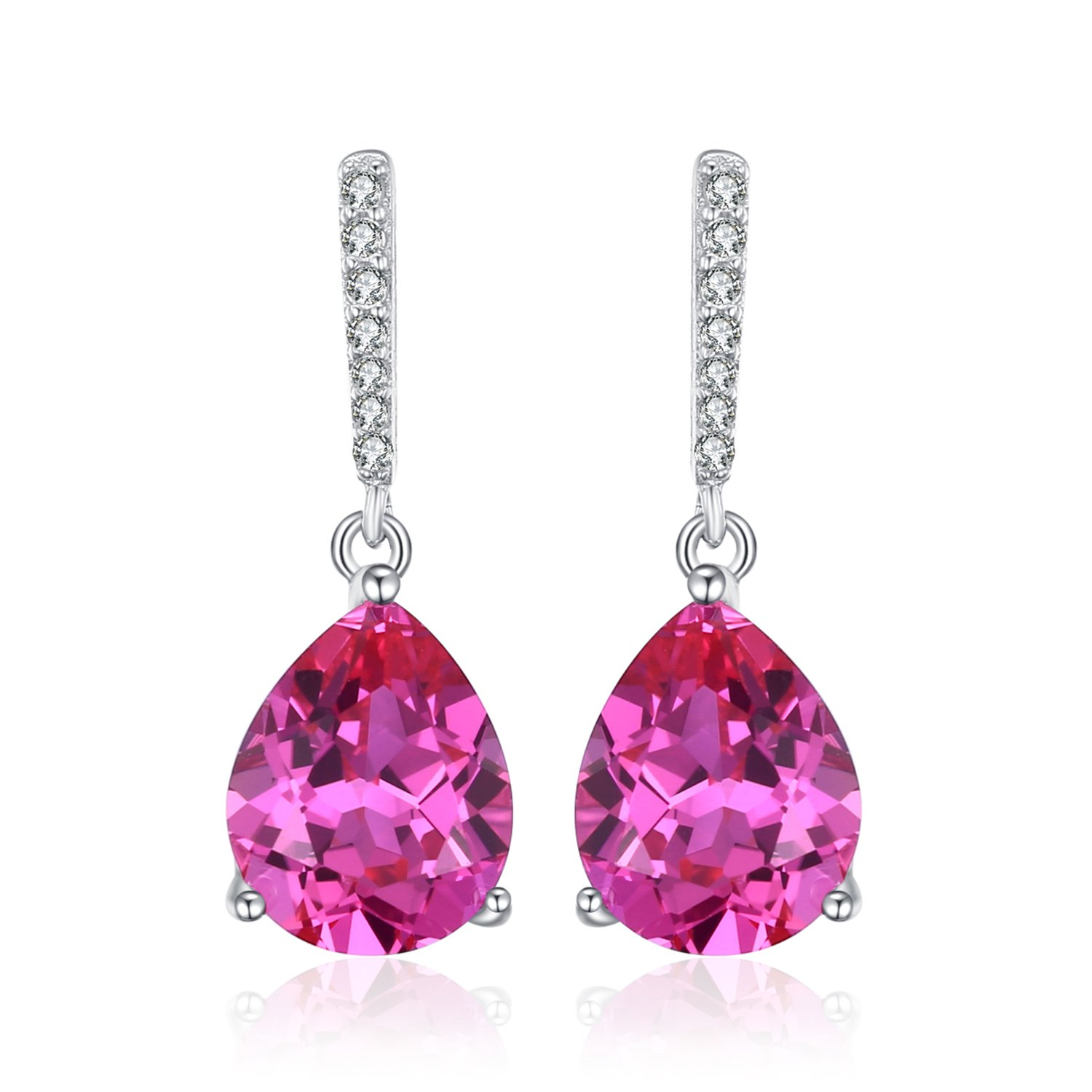 8f68008e8 Amazon.com: JewelryPalace Classic 7ct Pear Created Pink Sapphire Drop  Earrings 925 Sterling Silver: Jewelry