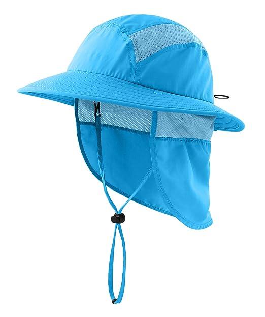 4c96b26d Home Prefer UPF 50+ Boys Sun Hat with Neck Flap Summer Beach Hat Kids Safari