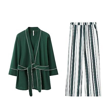 Xiaoxiaozhang Verano Pijamas de algodón Sexy Batas de baño, Pijamas, Ropa de casa Casual