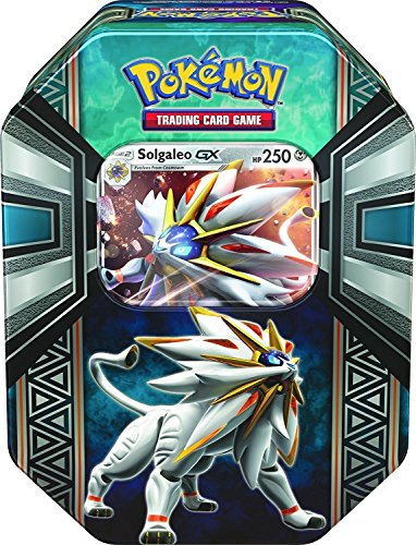 Pokemon TCG: Legends of Alola Solgaleo-GX Tin | Collectible Trading Card Set | 4 Booster Packs, 1 Ultra Rare Foil Promo Card Featuring Solgaleo-GX, Online Code Card | Battle and Build Your Pokedex ()
