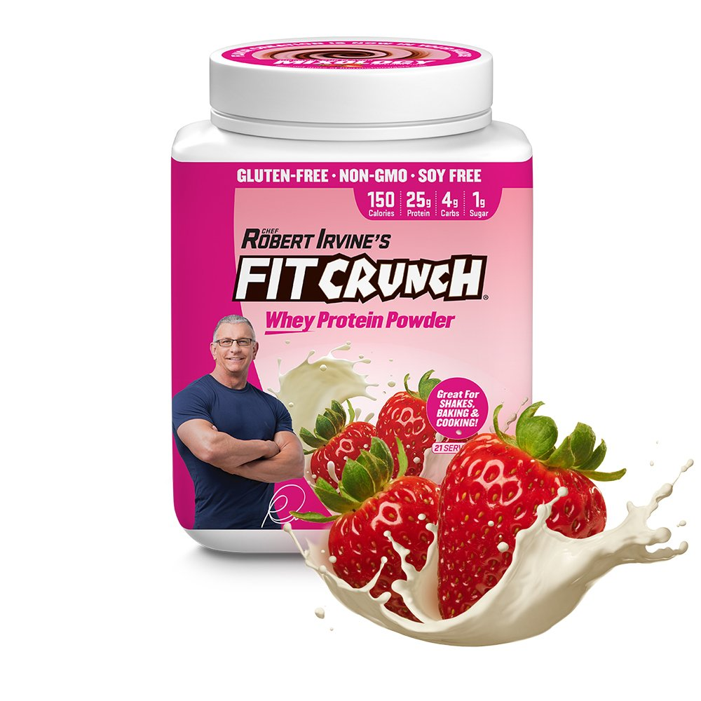 FITCRUNCH Whey Protein Powder   Designed by Robert Irvine   120 Calories, 25g of Protein & 1g of Sugar   Mixology Technology, Gluten Free, Soy Free & Non-GMO (Strawberry)