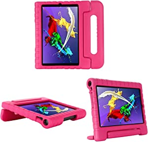 i-original Compatible with Lenovo Yoga Smart Tab 10.1 (YT-X705F) Inch Case,Shockproof EVA Case for Kids Bumper Cover Handle Stand,Convertible Handle Lightweight Protective Cover (Magenta)