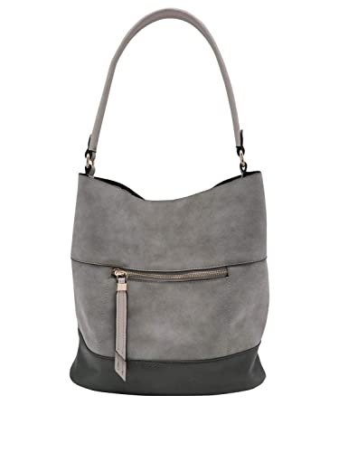 c7feafe902c7 M Co Ladies Slouch Hobo Style Shoulder Bag With Zip Pocket Grey One Size