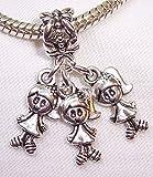 Burts Beads - Triplets 3 Girls Babies Sisters Dangle Bead fits Silver European Charm Bracelets YRS0747 offers