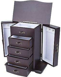 Amazoncom Deluxe Wooden Jewelry Organizer Box Storage Cabinet