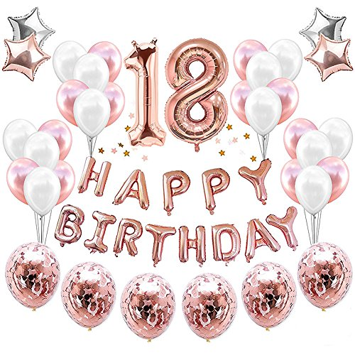 HankRobot 18th Birthday Decorations Party Suppies38packRose Golden Number 18 Birthday Balloons Happy Birthday Balloon Banner Golden Rose Confetti Balloons Perfect Birthday Decorations for Her