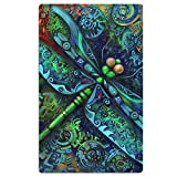 FSKDOM Oversized Jacquard Double Woven Velour Beach Towel Indian Mandala Dragonfly Insects Animal 40'' X 70'' - Thick Plush Luxurious Velour Pile - 100% Pure Cotton