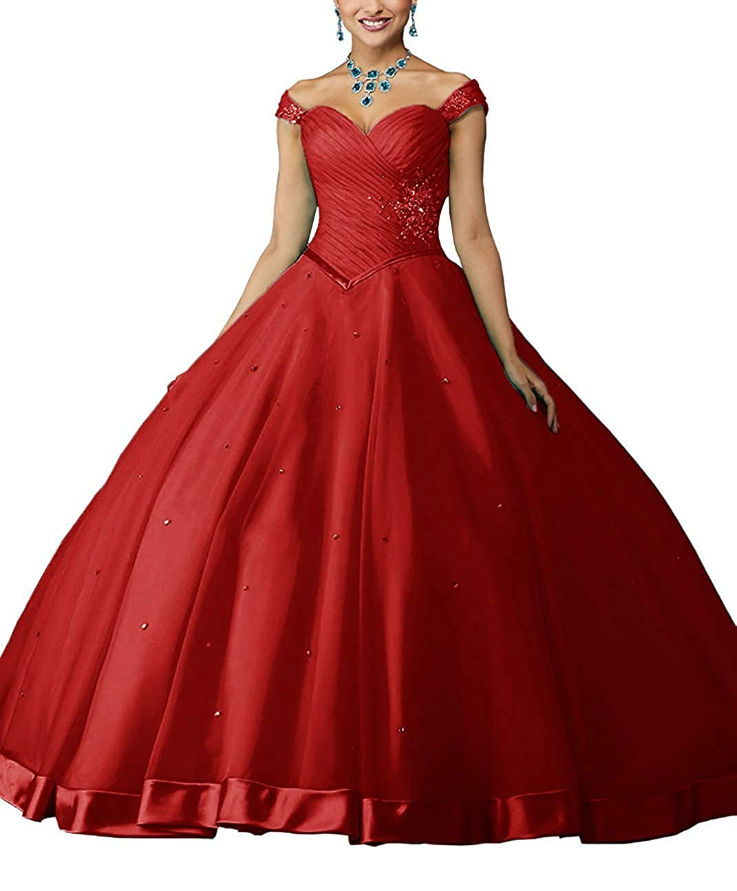 Red ZLQQ Women's Beaded Ball Gown Lace Applique Sweet 16 Detachable Quinceanera Dress