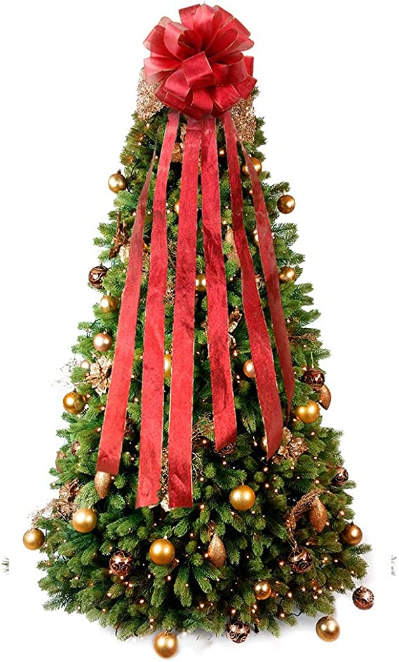 Flash World Christmas Tree Topper,27x12 Inches Large Toppers Bow with Streamer Wired Edge for Christmas Decoration Rice Gold Renewed