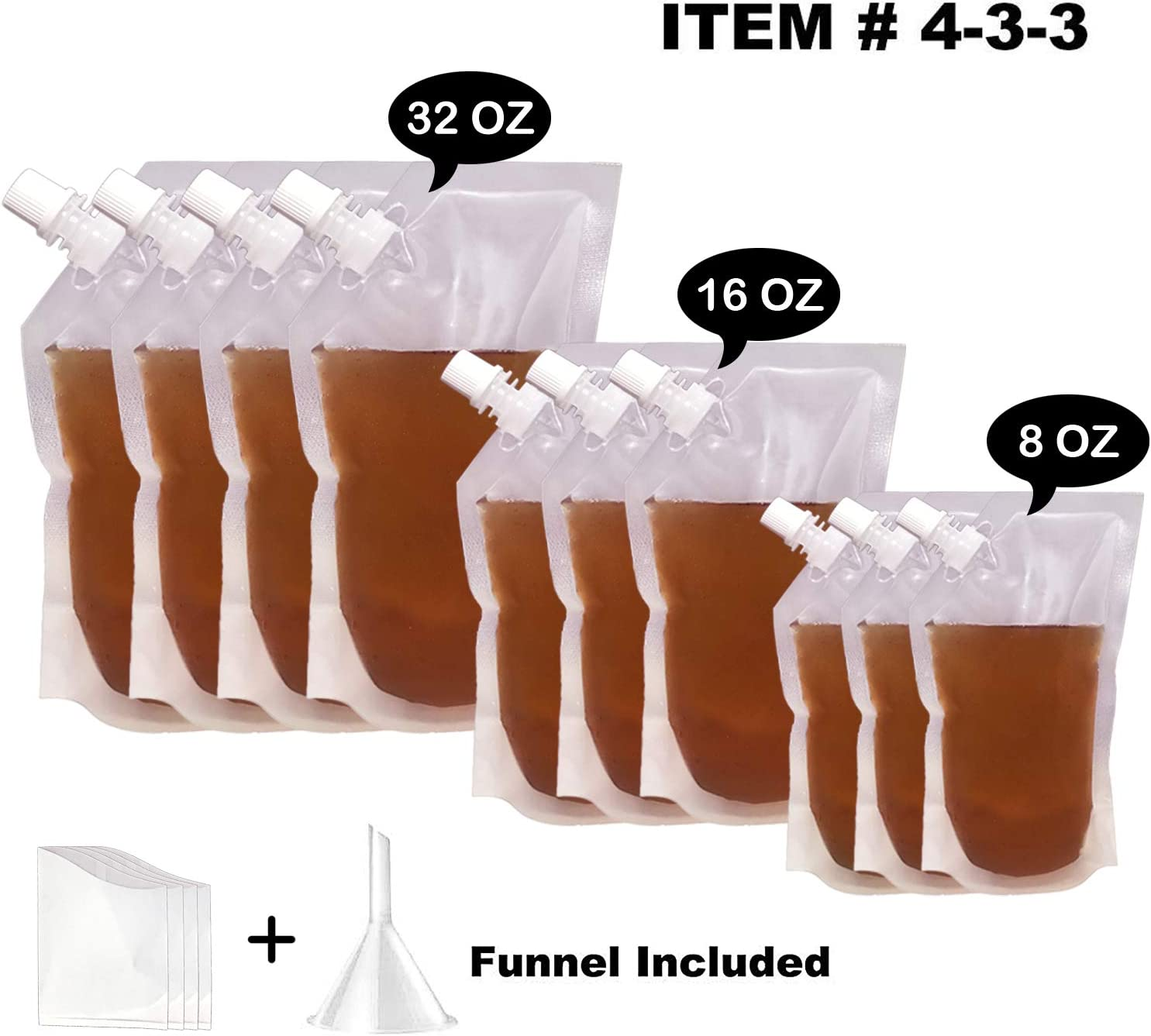 Concealable And Reusable Cruise Plastic Flasks For Liquor Bags Undetectable-No Plastic Taste,rum runner flask cruise kit Sneak Alcohol Anywhere - 4×32oz 3×16oz 3×8oz 1× Funnel