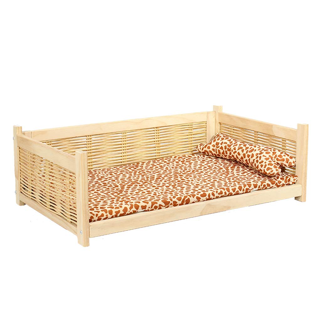 553722 WANGXIAOLIN Pet Bed, Cat Bed, Cat and Dog Bed, Dog Bed, Pet Nest, Rattan Weave, Four Seasons, Washable (Size   55  37  22)