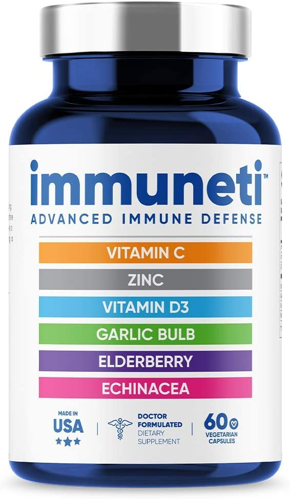 Immuneti - Advanced Immune Defense, 6-in-1 Powerful Blend of Vitamin C, Vitamin D3, Zinc, Elderberries, Garlic Bulb, Echinacea - Supports Overall Health, Provides Vital Nutrients & Antioxidants