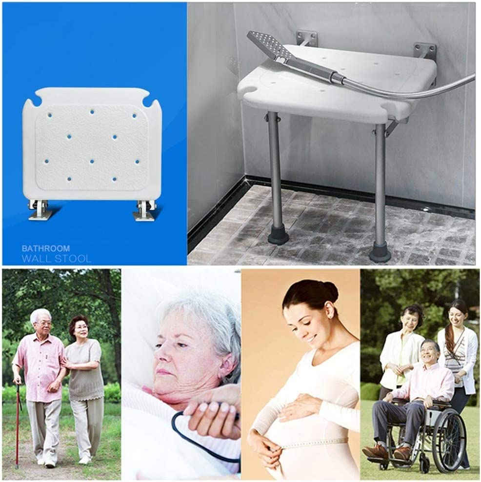 Accessibility Folding Wall Stool Elderly and Pregnant Women Bathroom Non-Slip Bath Stool,Load Bearing 200kg BEAUTY--shower stool