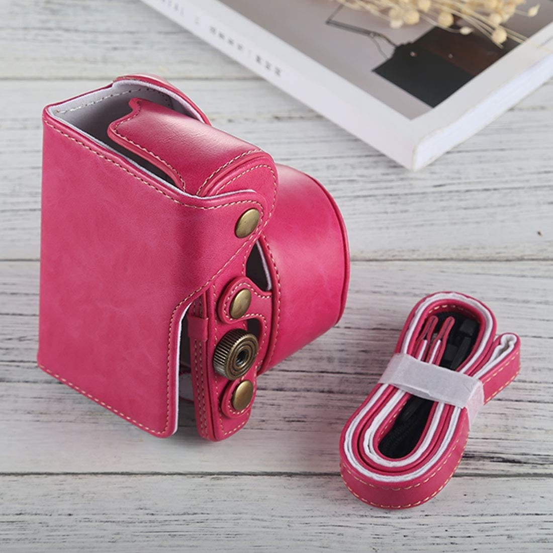 Color : Magenta Black Full Body Camera PU Leather Case Bag with Strap for Sony A6000 Camera Bags Cases