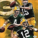 Bart Starr & Brett Favre & Rodgers Packers Autographed Signed 8x8 Photo - COA - Mint Condition