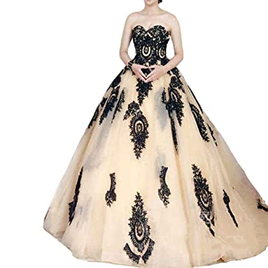 Amazon Kivary Lace Ball Gown Long Corset Sweetheart Tulle Prom