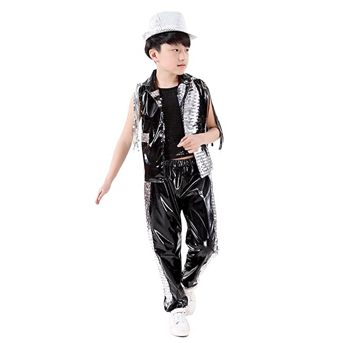 478ae00f0 Kids Costumes School Rapper Glitter Jazz Clothes Hip Hop Dancewear ...