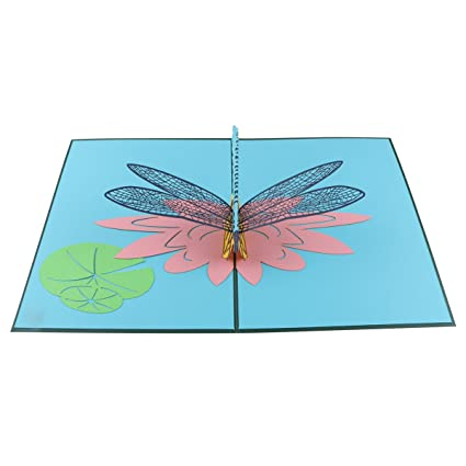 Amazon Kisslife Birthday Cards Pop Up Card Dragonfly Greeting