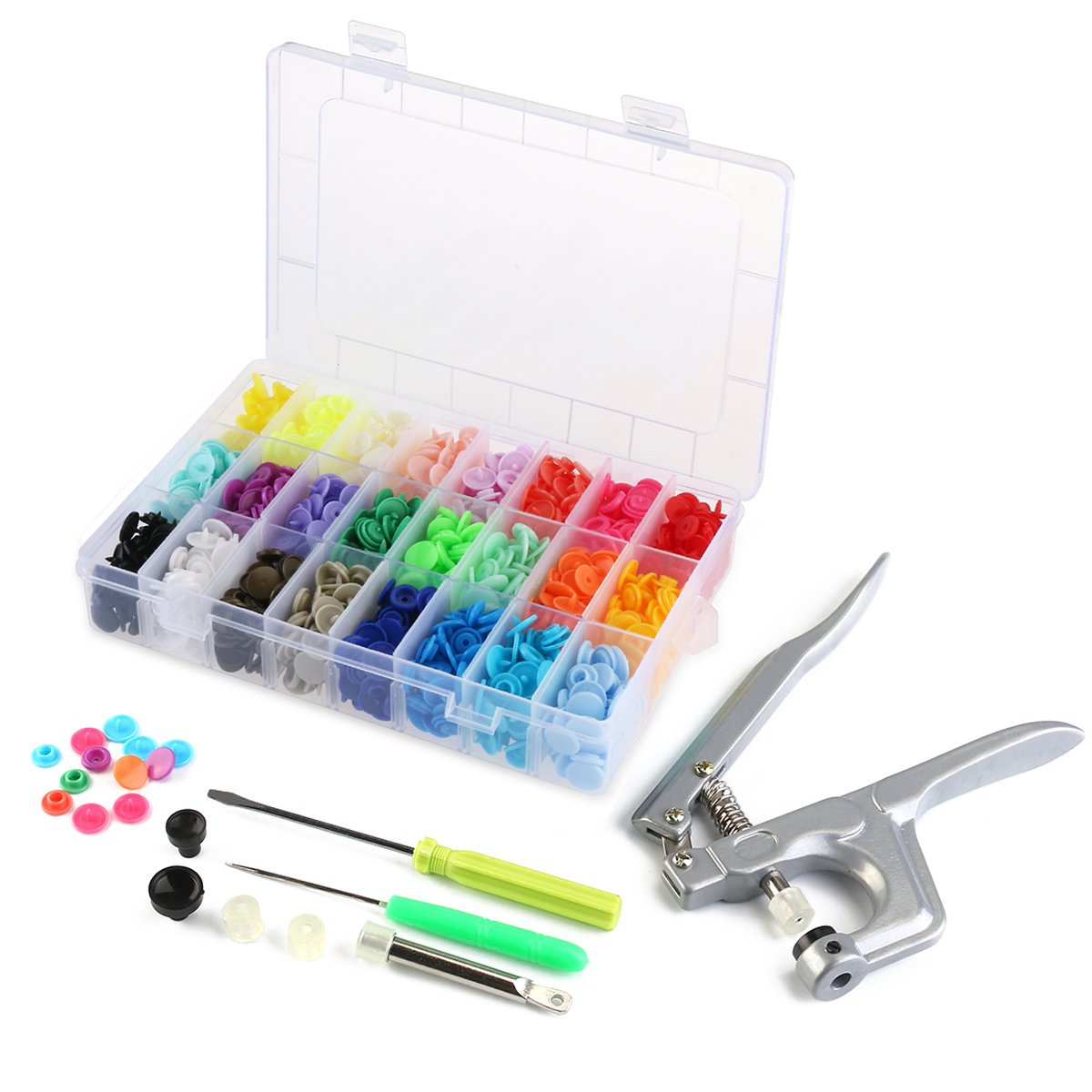 OUNONA 360pcs T5 Snap Button Plastic with Snaps Pliers and Organizer Storage Containers by OUNONA