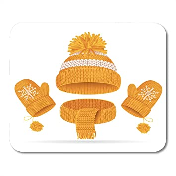 Boszina Mouse Pads Realistic 3D Yellow Hat with Pompom Scarf and Mitten  Knitted Seasonal Winter Traditional 4a732764e8e