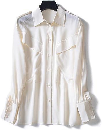 XCXDX Camisa Blanca De Seda Suelta, Blusa Básica, Top De ...