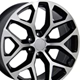 22x9 Wheels Fit GM Trucks and SUVs - GMC Sierra Style Black Rims w/Mach'd Face, Hollander 5668 - SET