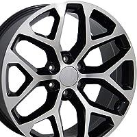 OE Wheels 20 Inch Fits Chevy Silverado Tahoe GMC Sierra Yukon Cadillac Escalade CV98 Black Mach'd 20x9 Rim Hollander 5668