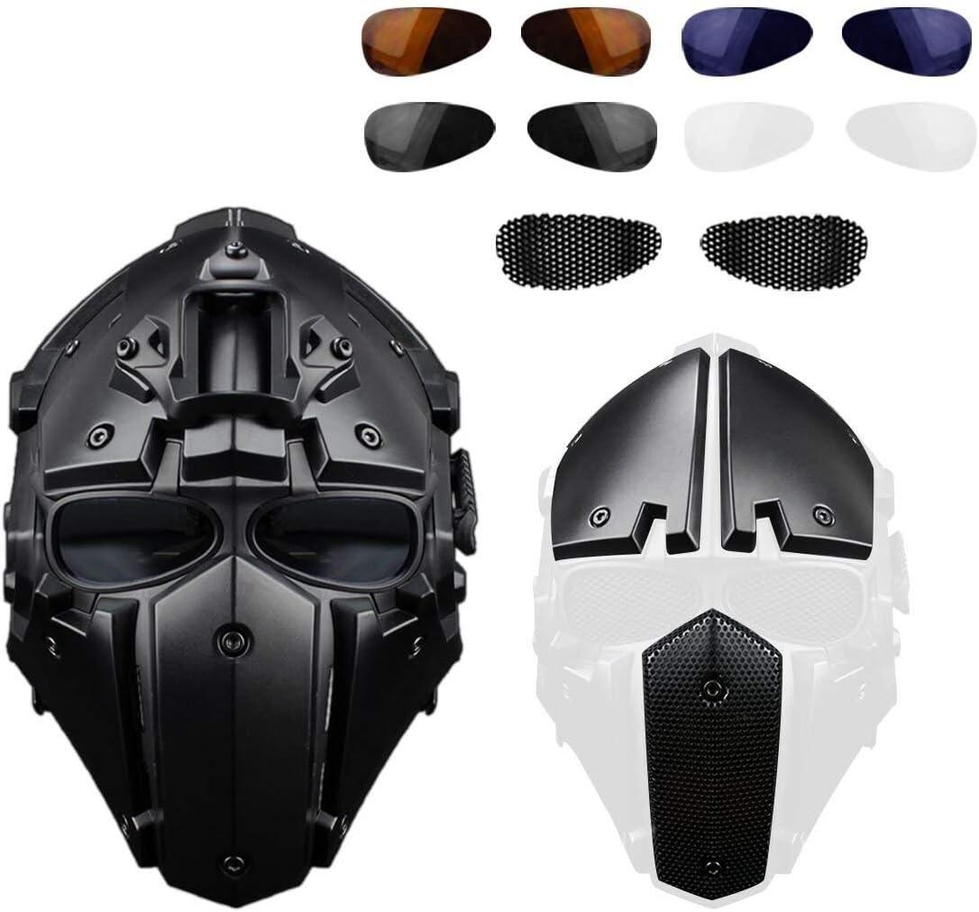 Rziioo Mascarilla de protección respiratoria Airsoft táctico Casco con Visera de 4 Pares Gafas de Caza Paintball Motocicleta Militar Cosplay película Prop