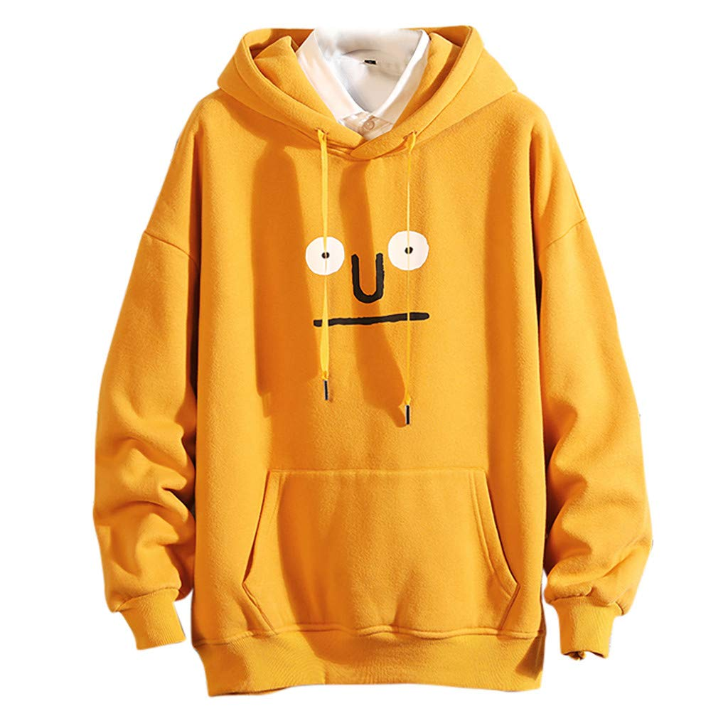 Men Hooded Sweatshirt Long Sleeve Pullover Funny Print Outdoor Tops with Pocket (M, Yellow) by Ruichao Men Tops