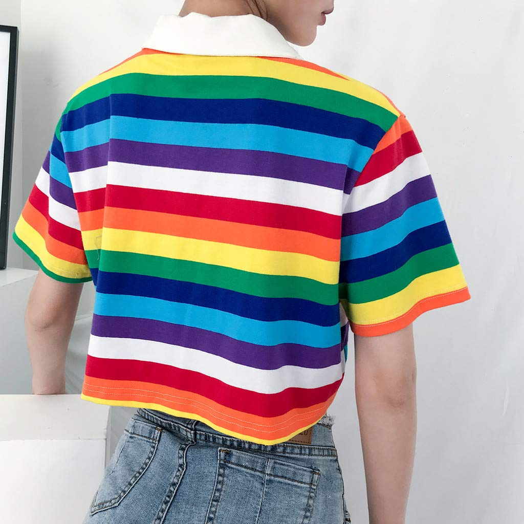Sanyyanlsy Womens Turn-Down Neck Rainbow Stripe Print Vest Short Crop Tank Tops Short-Sleeved Short Shirt V-Neck Blouse