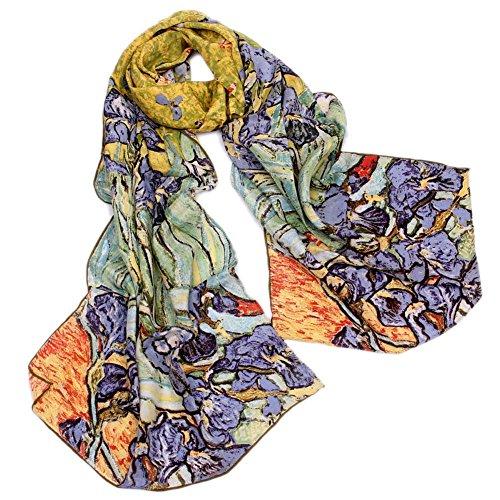 Angelshop Women'S 100% Luxury Long Silk Scarf Van Gogh'S Art Collection, Irises