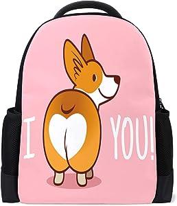 ALAZA I Love You Corgi Dog Casual Backpack Waterproof Computer Laptop School Bag