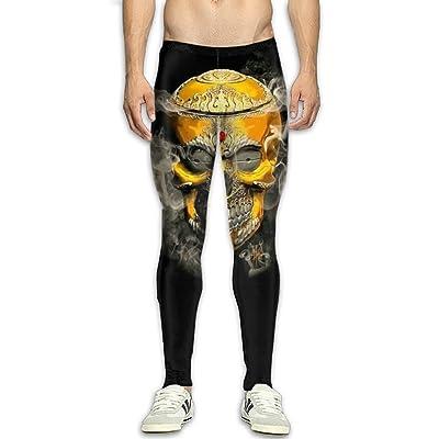 ed869fef036c7 QWYHFHH Men s Compression Pants Baselayer Gold Skull Dry Sports Tights  Leggings