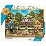 we have company jigsaw puzzle - MasterPieces Medallion Runaway Rooster Jigsaw Puzzle, Art by Bonnie White, 2000-Piece