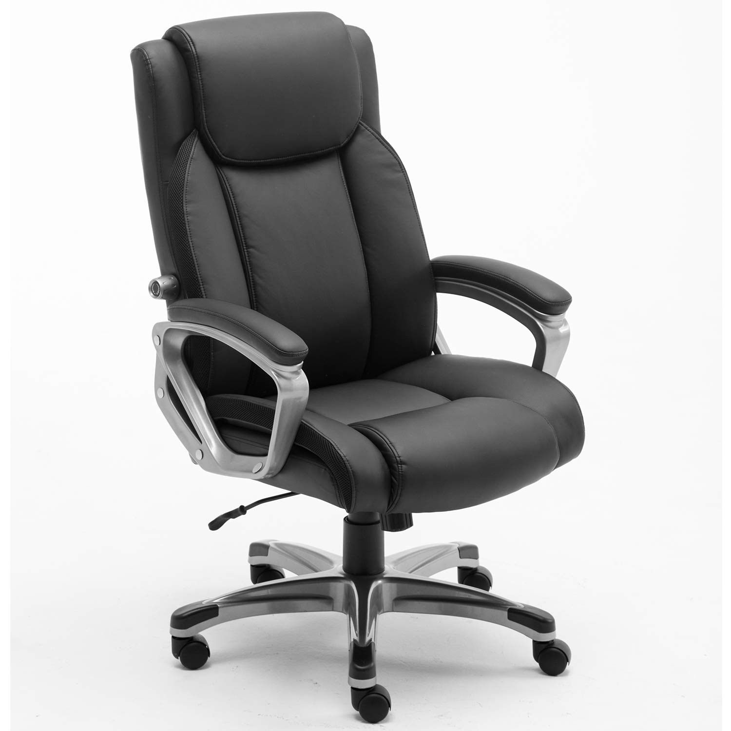 CANMOV High-Back Office Desk Chair Comfortable Leather - Executive Swivel Office Computer Desk Chair - Adjustable Lumbar Support - Easy Tool Free Assembly (Black)