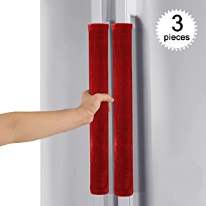 Comforfeel Refrigerator Door Kitchen Appliance Handle Covers, Keep Your Kitchen Appliance Handle Clean (Red)