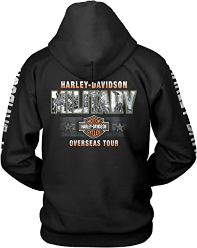 Harley-Davidson Military Epic Military Collage Mens Graphic Pullover Hooded Sweatshirt