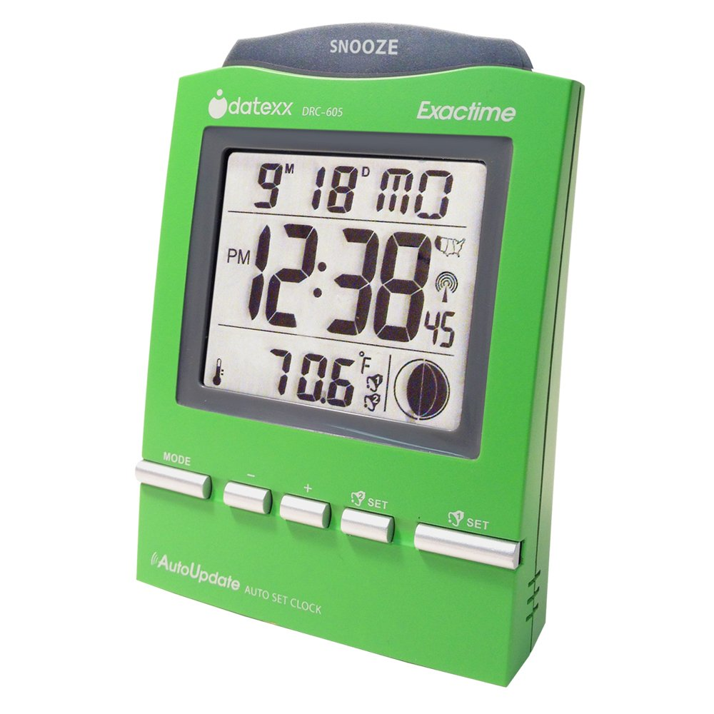 Datexx DRC-605GR Radio Control Alarm Clock with Month/Day and Temperature, Green