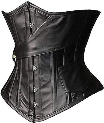 Black Leather Corset Corset lingerie steampunk Gothic Steel Boned Under-bust cincher waist trainer 20 steel bones