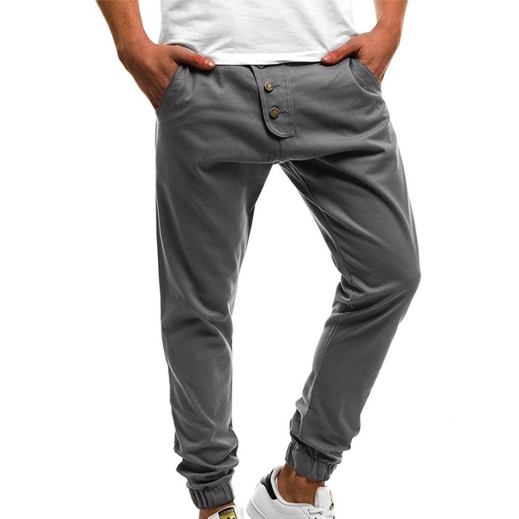PASATO Fashion Men's Sport Pure Color Button Casual Loose Sweatpants Drawstring Pant(Gray, XL) by PASATO